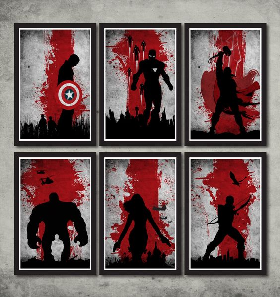 Vintage Avengers Movie Poster Set by MINIMALISTPRINTS on Etsy