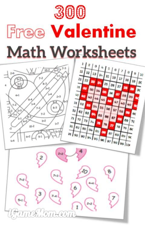math worksheet : 300 free valentine math worksheets for kids from toddler to  : Kindergarten Valentine Math Worksheets