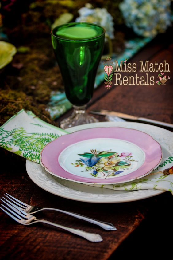 Alice in Wonderland, vintage dinnerware, colored goblets, farm table