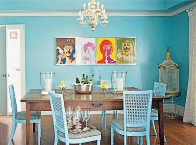 Turquoise & wood dining room