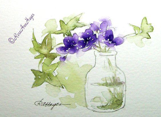 Purple Flowers in Glass Jar Print of Watercolor by RoseAnnHayes, $17.00