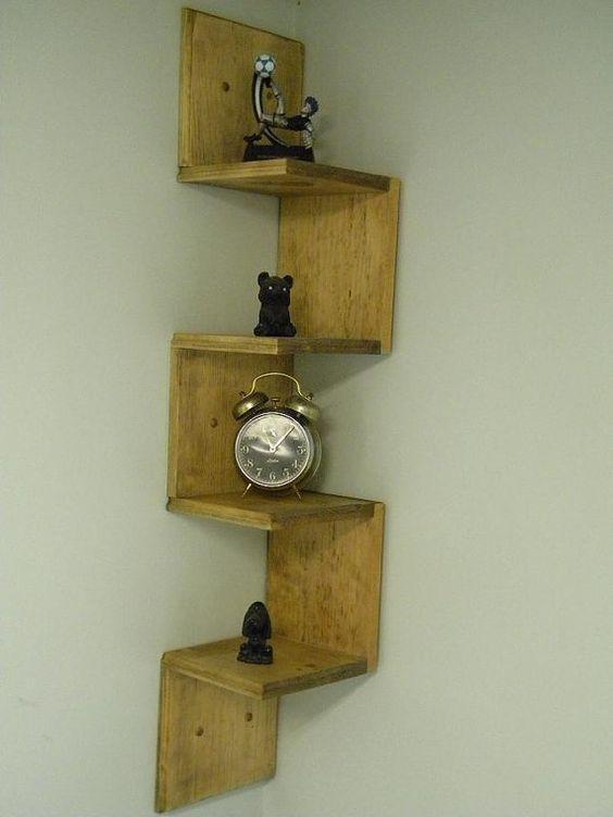 Wall mounted corner shelf retro walnut stain shelf ideas - Wall mounted shelving ideas ...