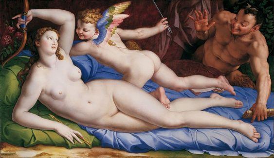 Bronzino. Venus, Cupido and Satyr