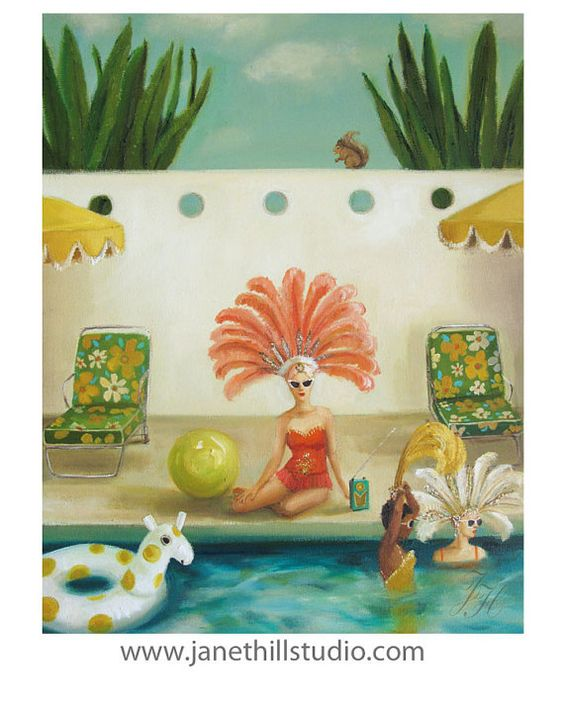 Poolside. Original Oil Painting by janethillstudio on Etsy
