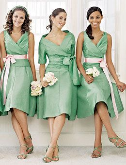 bridesmaids in the sleeveless and maid/matron of honor in the sleeved (P.S. it's just an image not a link to the dresses)