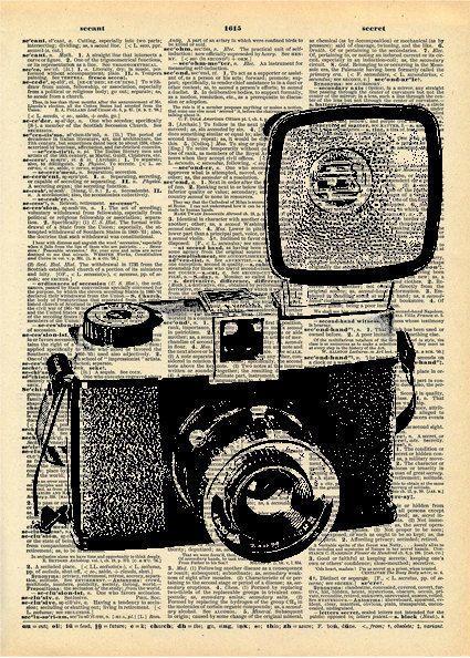 Camera drawing, Vintage cameras and Vintage book art on ...