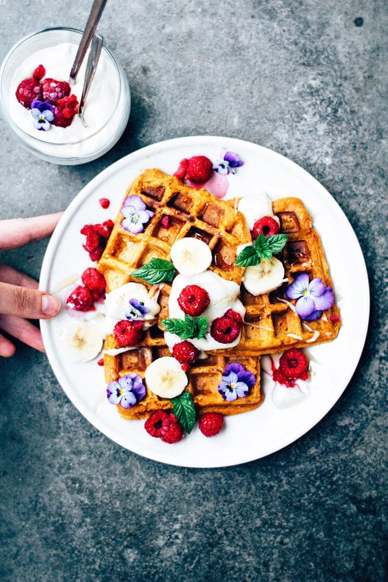 sweet potato waffles & cashew cream