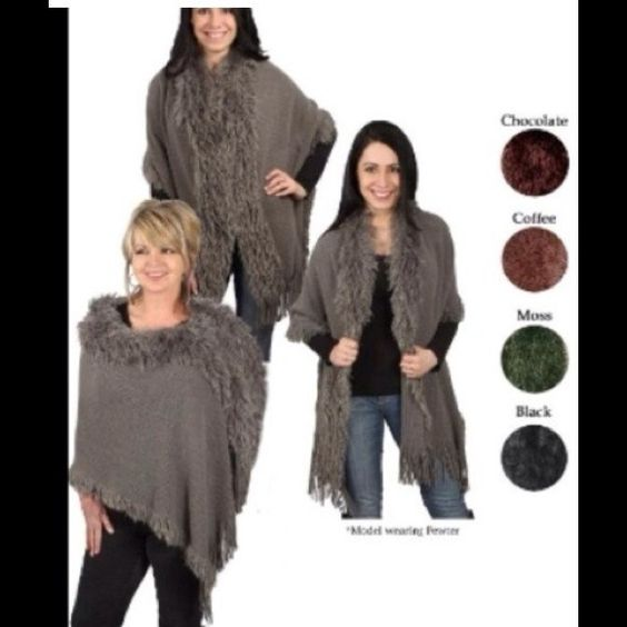 Beautiful sweater/poncho/cape - PEWTER This is so nice!  Comes in all colors shown, and is so stylish!  This listing is for the PEWTER one.  One size.  You will love this! Jackets & Coats