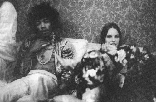 jimi hendrix and michelle phillips of the mamas and the papas,1970