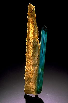 This blue indicolite elbaite is from Minas Gerais, Brazil, the main source of fine tourmaline crystals.: