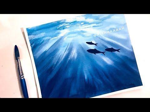 Original Watercolor Seascapes Sea Painting Ocean Animals Shark
