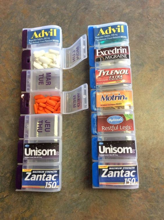 Great use for the 'days of the week' pill organizers - You could print labels and attach them - Perfect for travel