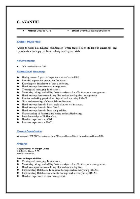 sql dba resume developer oracle database administrator template - sql dba resume