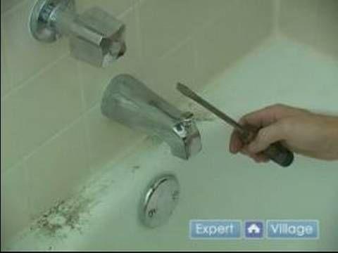 leaky bathtub faucet removing the spout