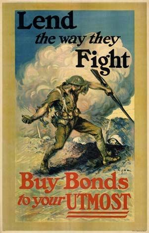 Lend the way they Fight, E. M. Ashe; Lend the way they Fight  Buy Bonds to Your Utmost  Here we have a Doughboy bayoneting a German offstage right with a grenade in left hand, German helmets below. Poster designer Ashe was noted for his industrial paintings, especially of steel mills. Through his friendship with Teddy Roosevelt, he became an artist in residence at the White House. This is his only known WW1 poster.