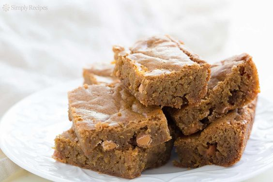 Blondies ~ Quick and easy blondie recipe.  Like brownies in shape and texture, blondies are flavored with brown sugar in place of chocolate.  Delicious! ~ SimplyRecipes.com