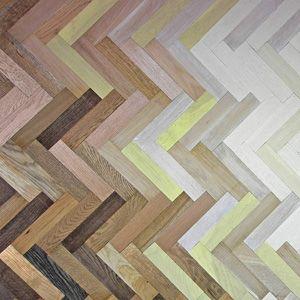 coloured parquet flooring