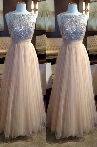 Custom Made Long Ivy Prom Dress, tulle prom dress