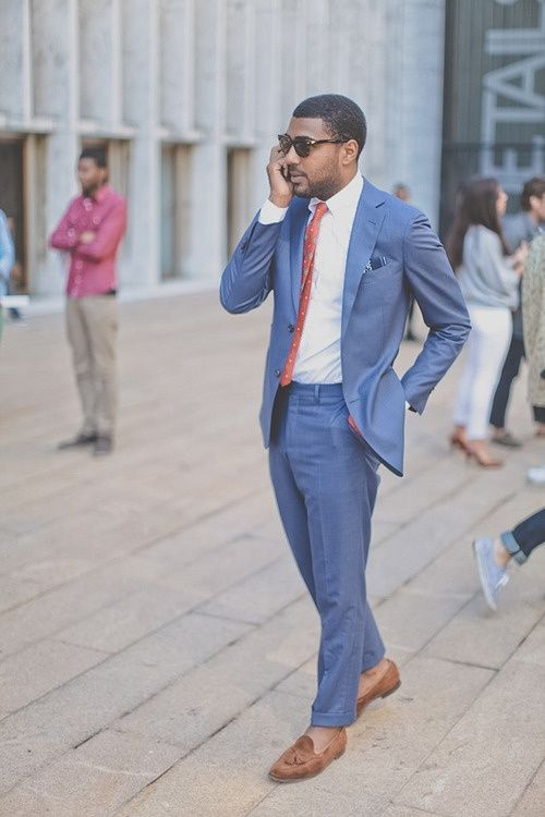 Men's blue suit in summer. Love the brighter shade of blue/ men's