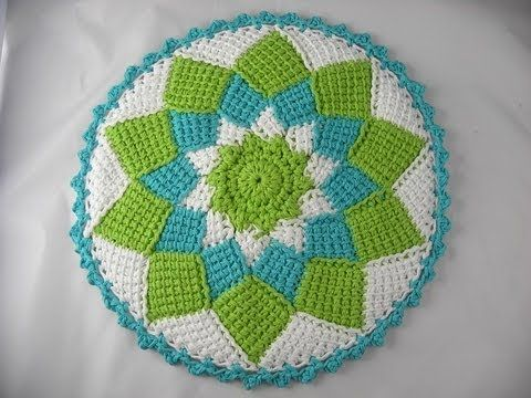 Tunisian Knit Stitch In The Round : Tunisian Crochet - Entrelac in the round border...NOT in English Crochet : ...
