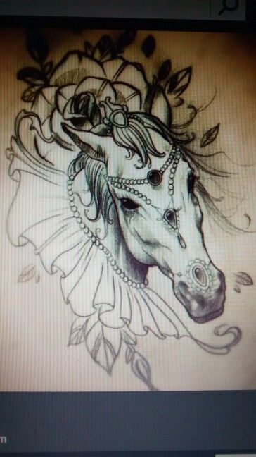 Photo of a photo so bit blurry, but i love this so much. If i were ever to get a horse tattoo, this would be it