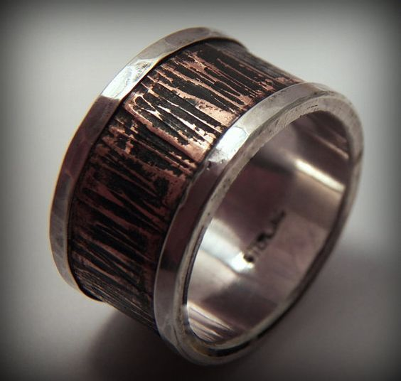 Wide 12mm Rustic Sterling Silver and Copper by VictorianMoon, $283.00