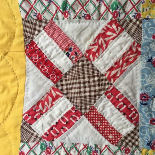 Vintage-Hand-Sewn-Feed-Sack-Cotton-GIRLS-JOY-QUILT-Novelty-Prints-No-binding