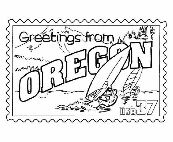 Usa Printables Oregon State Stamp Us States Coloring