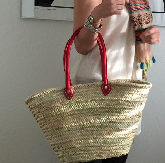Straw bag shopping baskets Moroccan basket woven by Spiralspiral