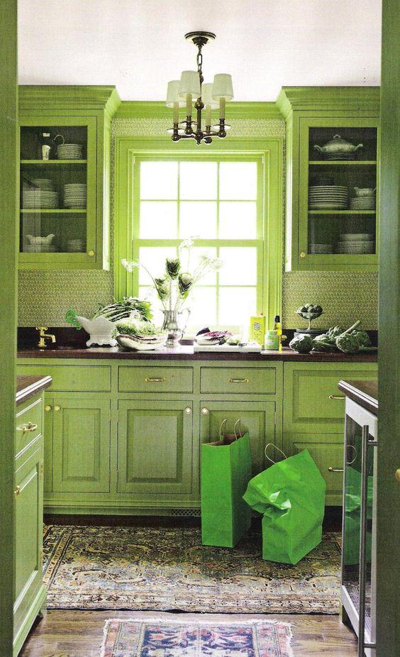 Cocina verde lima, Cocina verde and Gabinetes de cocina verde on ...