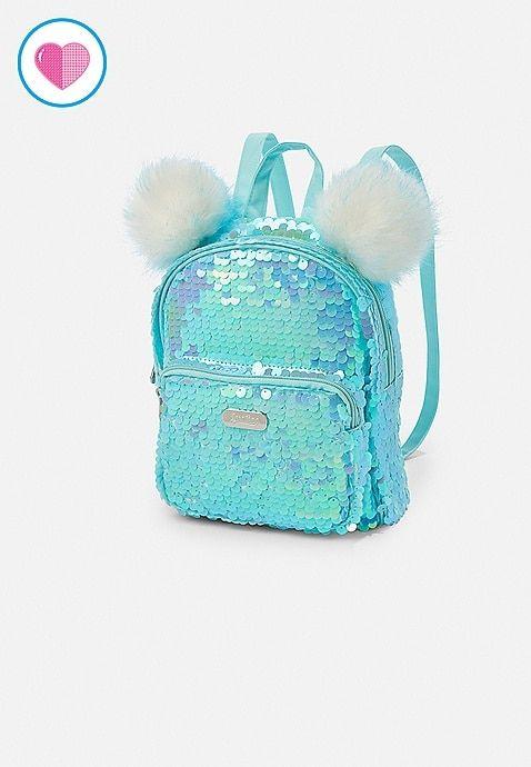 "Cute!!! NWT JUSTICE Sequin Cat /""MINI MINI/"" Backpack So.."