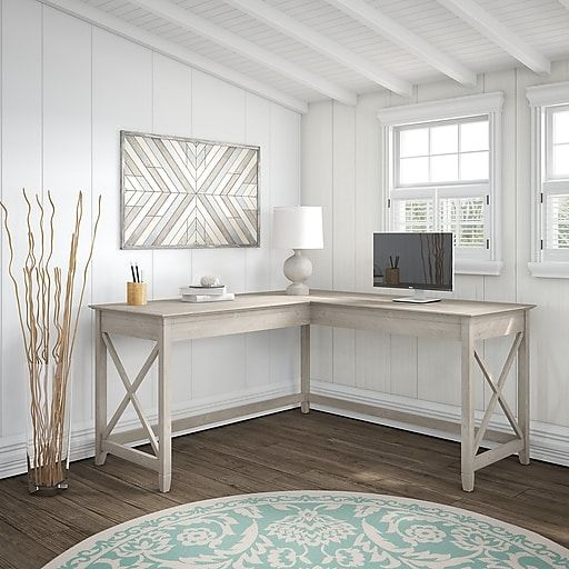 Bush Furniture Key West 60w L Shaped Desk Washed Gray Kwd160wg 03 Bush Furniture Cheap Office Furniture Credenza Desks