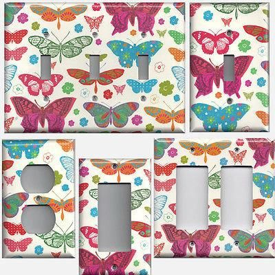 Hippie Multi Color Butterflies on Light Cream Background Switchplates & Outlets - Simply Chic Gal