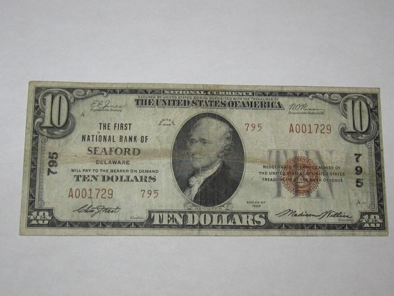 $10 1929 Seaford Delaware DE National Currency Bank Note Bill! Ch. #795 Fine http://www.collectiblenotes.com/10-1929-seaford-delaware-de-national-currency-bank-note-bill-ch-795-fine/