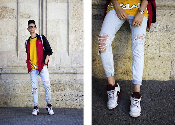 Get this look: http://lb.nu/look/8845865 More looks by Luka Lajic: http://lb.nu/lukalajic Items in this look: Bershka Jeans, Adidas Track Jacket, Lotto T Shirt, Air Jordan Sneakers #retro #sporty #street #jordans #colorblocking #red #yellow #90s