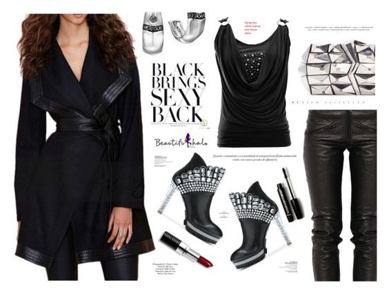 """""""Black brings sexy back- BeautifulHalo"""" by katarina-blagojevic ❤ liked on Polyvore featuring Preen, Jill Haber, John Hardy, Forever 21, Bobbi Brown Cosmetics and Topshop"""