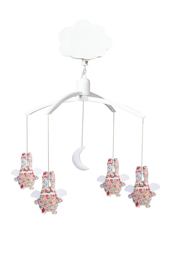 Trousselier Mobile Musical Ange Lapin Fleurs Rouge
