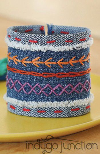 A great cuff from @Jorna Schwegler Go Junction new book Stitched Style. Projects + hand embroidery designs. #sewing #book