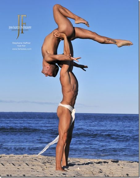 Nude male acrobats. Kyle Kier and Stephane Haffner. Photo by John Falocco.: