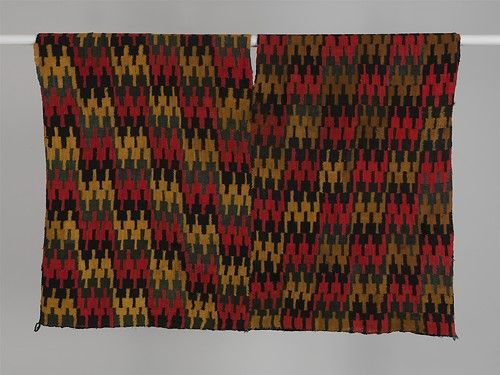 Tunic of Stepped Pattern, ca. 500–650 Peru, possibly Arequipa area, late Nasca style (?) Camelid hair; plain weave, discontinuous warp and weft; 39 1/2 x 56 in. (100.3 x 142.2 cm) Private Collection