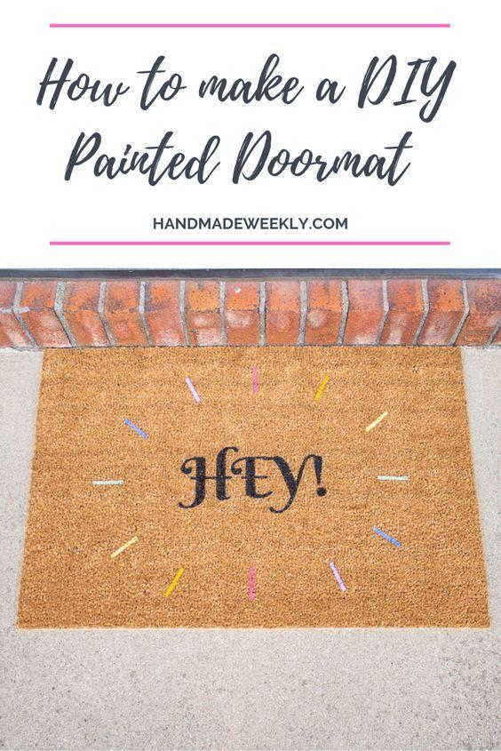 Diy Painted Ikea Trampa Doormat Handmade Weekly Door Mat Diy Diy Painting Door Mat
