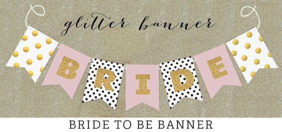 Pink and Gold Glitter Bridal Shower Banner Decorations will sparkle! These Bride to Be Banners in a blush pink and gold wedding color scheme - custom so