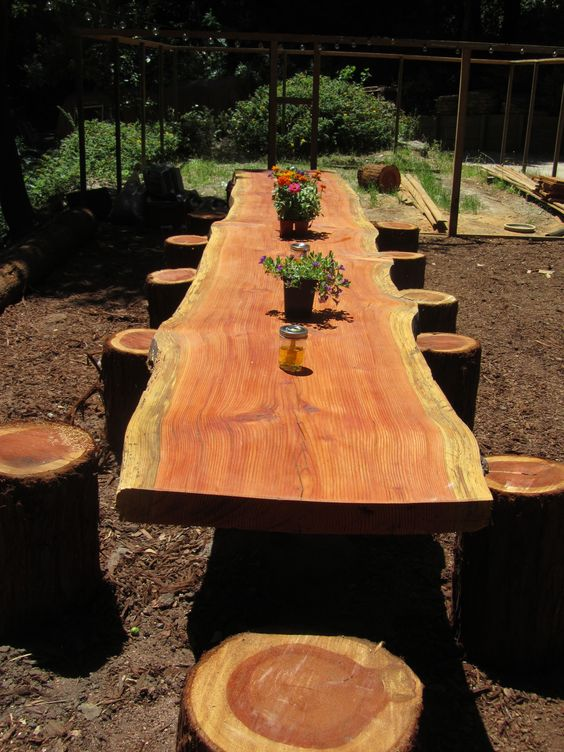 our garden dining table :) family project: other 1/2 milled the table wood from a felled douglas fir tree and I sanded and did all the finishing work.: Dining Table, Rustic Furniture, Picnic Tables, Log Table, Outdoor Tables, Wood Table, House Idea