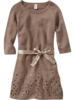 Girls Sequined Tie-Belt Sweater Dresses - Old Navy - I want this ...