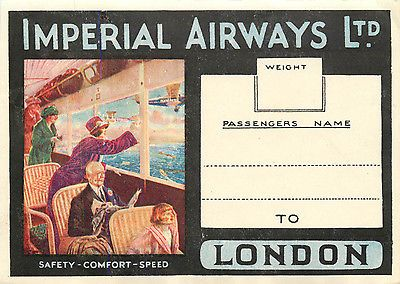 IMPERIAL AIRWAYS Ltd to LONDON - Spectacular & Scarce Airline Luggage Label 1923