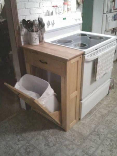 Au lieu de placer la traditionnelle poubelle sous l'évier, on adore le système de la poubelle inclinée qui se range dans le côté du meuble