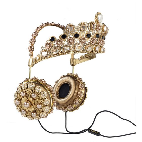 FRENDS x Dolce Gabbana, Embellished Leather Headphones with Gold Crown ($8,895) ❤ liked on Polyvore featuring accessories, leather crown, dolce&gabbana and gold crown