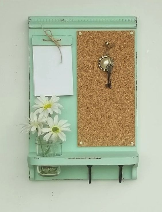 New Item...Corkboard Message Board...Note Pad...Key Hooks...Organizer..Mason Jar Shelf...Made to Order
