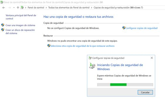 Copias de seguridad en Windows
