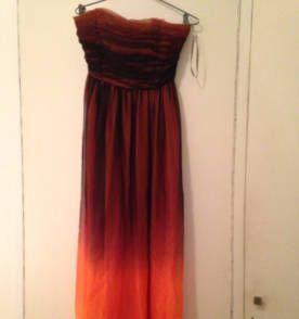 vestido longo degrade preto com laranja